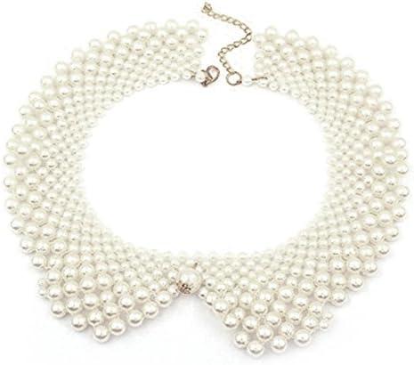 Vococal - Cadena de Collar de Perlas Redondo / Cuello Falso Desmontable White Collar Falso para Mujer