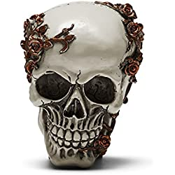 Skull Style Moneybox Coins Bank Sculpture Skeleton Head Model Halloween (Ivory, Gray, Bald patch)