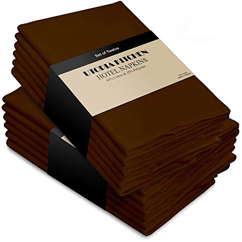 Chocolate Brown Dinner Napkins - Utopia Kitchen Cotton Dinner Napkins - Cocoa Brown - 12 Pack (18 inches x 18 inches) - Soft and Comfortable - Durable Hotel Quality - Ideal for Events and Regular Home Use