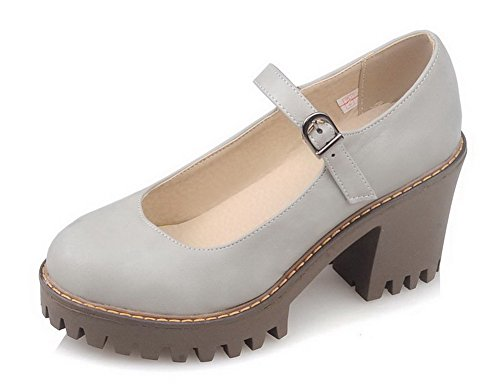 VogueZone009 Women's Solid PU High-Heels Round Closed Toe Buckle Pumps-Shoes Gray oxmbO7MX