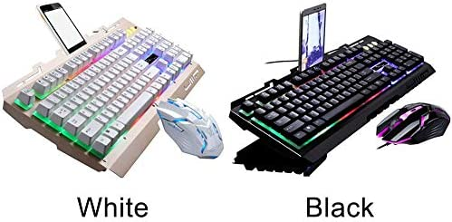 GFULLOV Juego Ratón Gaming Portátil Multimedia Mecánico Luminoso con Intercambiables RGB Teclado LED PC Kit Ergonómico Retroiluminacion - Negro, Free Size: Amazon.es: Hogar
