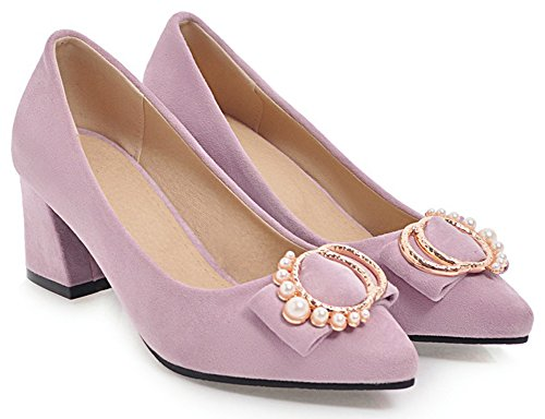 IDIFU Womens Sweet Faux Suede Chunky Mid Heeled Pearls Pointed Toe Slip On Bridal Pumps Shoes Purple 1k41vzh