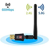 WiFi Adapter,IKOCO 600Mbps Dual Band (2.4G/150Mbps+5G/433Mbps) Wireless USB Wifi Dongle with Antenna, 802.11N/G/B Network Lan Card For Windows XP/Vista/7/8/8.1/10 Linux Mac OS X 10.4-10.11
