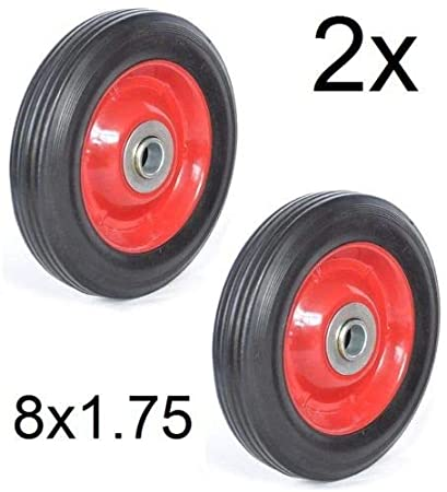 2x rueda Maciza 8x1.75 con Rodamientos Carretilla Plataformas Carros 20,3cm 8