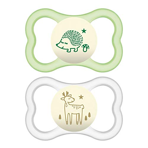 MAM Glow In the Dark Sensitive Skin Pacifiers, Baby Pacifier 6+ Months, Best Pacifier for Breastfed Babies, 'Air Night' Design Collection, Unisex, 2-Count (Girl Night Pacifier Mam)