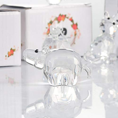 Gold Happy Crystal Cute Hippo Figurine Collection Cut Glass Ornament Statue Mini Animal Collectible Art Glass
