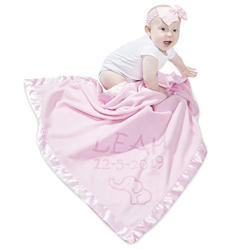 Elephant Blanket Baby Boy, Girls - Nursery Décor, Soft Plush Fleece, Pink, Blue (2 Lines of Text)