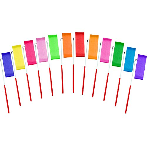Elcoho 12 Pieces Dance Ribbons Streamers Rhythmic Gymnastics Ribbon Wands for Kids Artistic Dancing, Baton Twirling, 12 Colors ()
