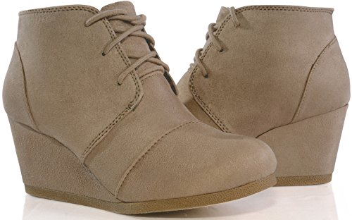MARCOREPUBLIC Galaxy Womens Wedge Boots - (Taupe) - 10 by MARCOREPUBLIC (Image #6)'