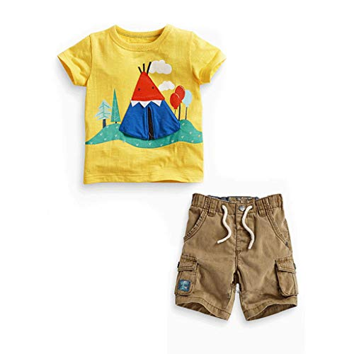 WOCACHI Toddler Baby Boys Clothes, Summer Children Kids Baby Boys Print T-Shirt Tops+Pants Outfits Clothes Set Back to School Easter Egg Costume Parade Bunny Lily Eggs Roll Basket Mother's Day]()
