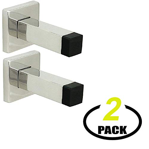(Nuk3y Modern Square Wall Door Stop or Coat Hook, 2 Pack (Polished Stainless Steel))