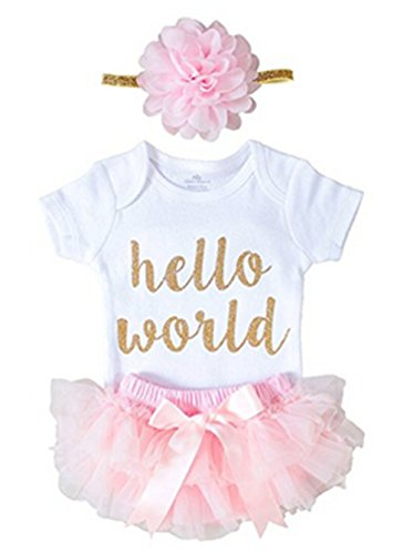 Newborn Baby Girl Hello World 3 PCS Romper Jumpsuit + Shorts Pants Outfits (0-3 Months, Pink)