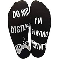 "Funny Crew Cotton Socks –""Do Not Disturb, I'm Playing Fortnite"", Great Gift for Game Players and Fortnite Lovers"