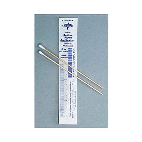 Sterile 6'' Cotton Tip Applicators, 100 Packs, 2 Applicators per pack by Medline