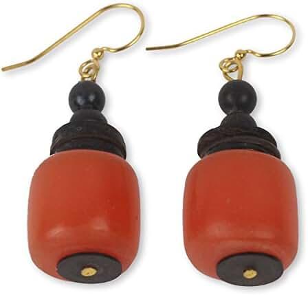 NOVICA Brass Coconut Shell Dangle Earrings 'God's Gift'