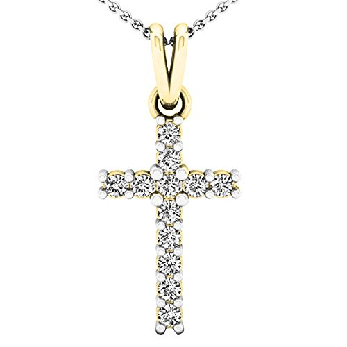- Dazzlingrock Collection 0.15 Carat (ctw) 10K Round White Diamond Ladies Cross Pendant (Silver Chain Included), Yellow Gold