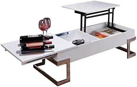 BOWERY HILL Lift Top Coffee Table in White and Chrome