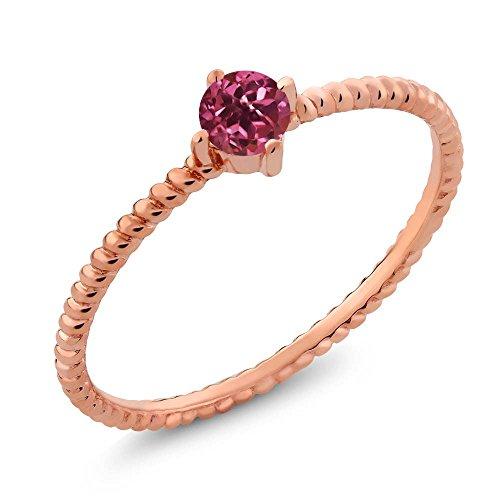 Rose Gold Tourmaline Ring (0.15 Ct Round Pink Tourmaline 10K Solid Rose Gold Ring)