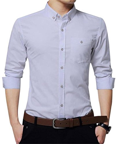 YTD Mens 100% Cotton Casual Slim Fit Long Sleeve Button Down Printed Dress Shirts (US X-Large, P-White)