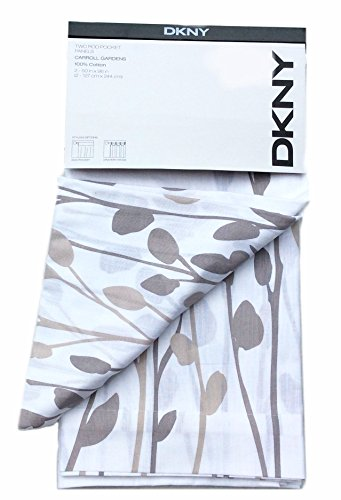 Floral Tan Panel - DKNY Carroll Gardens Floral Road Pocket Curtains 100% Cotton 50 by 96-inch Set of 2 Floral Window Panels White Beige Tan Taupe Flowers Branches