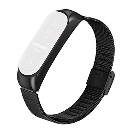 OutTop(TM) Stainless Steel Watch Band for Xiao Mi Band 4 Replacement Lightweight Metal Case Quick Release Wrist Strap Wristband Watchband (Black)
