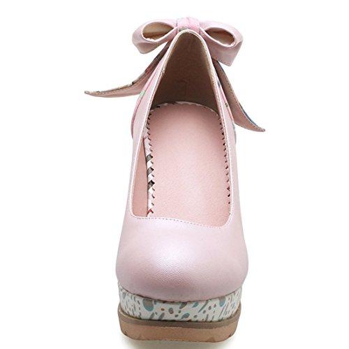 YE Damen Keilabsatz Pumps Knöchelriemchen High Heels Plateau mit Schleife Elegant Schuhe Rosa