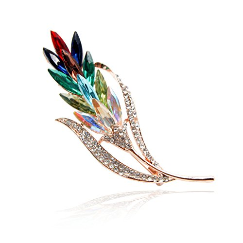 Brass Crystal Brooch - Rainbow Crystal Ginger Flower Pin
