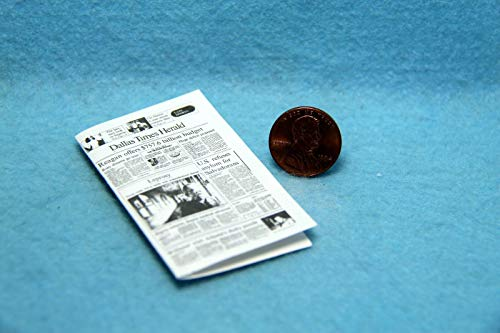 (ShopForAllYou Figurines and Statues Dollhouse Miniature Dallas Times Herald Newspaper with)