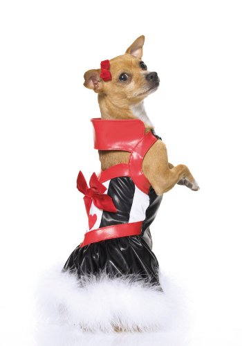 Leg Avenue Queen Of Puppies Incl Collared Dress W/ Marabou Trim (Marabou Bustier)
