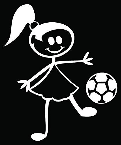 - Girl Soccer Futbol Family Stick Figure Vinyl Decal Sticker Car Truck Window Wall Art- (20 inch) / (50 cm) Tall BLACK Color