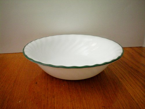 Corelle Callaway Soup/Cereal Bowl -- Swirl with Green Rim -- as shown (Corelle Cereal Bowls Green Rim compare prices)