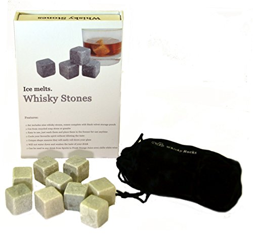 (Whisky Soapstones Rocks Stones - Set of 9 Grey Whisky Chilling Rocks in Gift Box with Velvet Carrying Pouch)