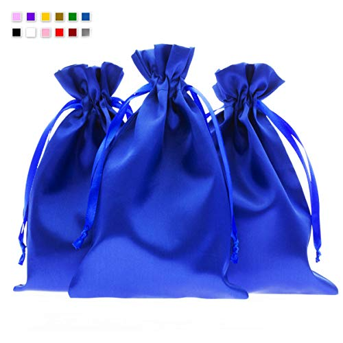 Knitial 6″ x 9″ Blue Satin Gift Bags, Jewelry Bags, Wedding Favor Drawstring Bags Baby Shower Christmas Gift Bags 50 per Pack