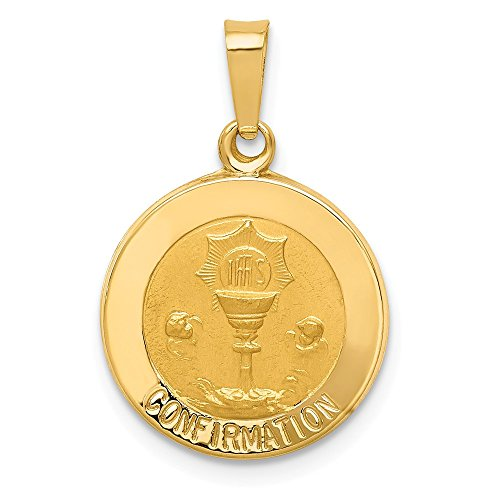 Jewelry Stores Network 14k Yellow Gold Cup and IHS Confirmation Words On Round Medal Pendant 18x15mm
