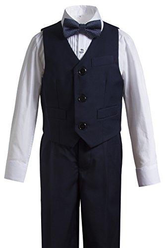 Gele Boy 4 Pieces Formal Wear Suit,Vest+Pants+Shirt+Bow Tie (7, Navy) by Gele