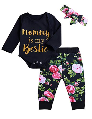 (Infant Baby Girl Clothes Mommy is My Bestie Black Long Sleeve Romper +Floral Pants with Headband Outfit Set (0-3)