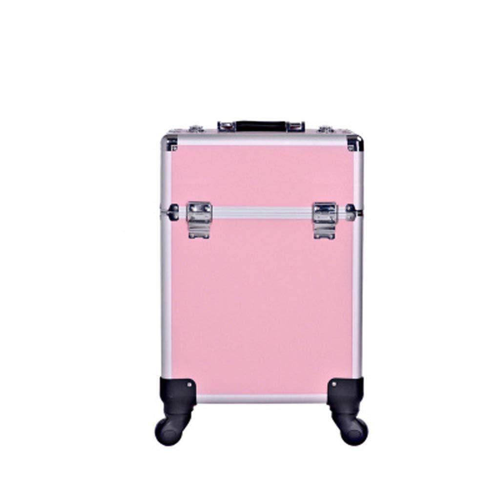 ALUP- 化粧品美容トロリーボックス、旅行メイクケース、ストレージバニティケース、美容スタジオ専用トロリー化粧ケース (色 : ピンク)  ピンク B07KB28FRZ