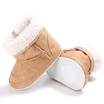 Meckior Infant Baby Girls Winter Snow Booties Warm Fleece Soft Sole Newborn Anti-Slip Shoes Prewalker Boots