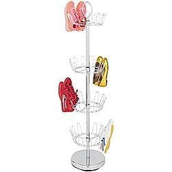 Basics Hardware Free Standing Shoe Rack, Shoe Shelf Storage Organizer 4-Tier Revolving Shoe Rack Swivel, Adjustable Shoe Tree (Swivel Shoe Rack)