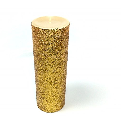 Gold Glitter Pillar Candle Wedding & Party Decor - Choose 4, 6, 9 Inches (Sparkle Pillar Candles)