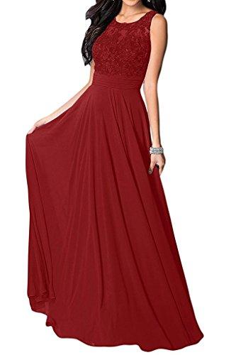 Burgund Damen Applikation Tanzenkleider Spitze Linie Festkleider Aiyana Partykleider Abendkleid Lang Rundkragen fur A ärmellos Oanq7