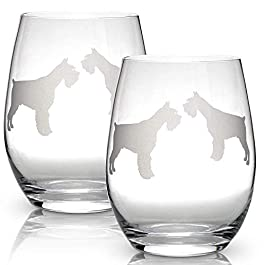 Schnauzer Stemless Wine Glasses (Set of 2) | Unique Gift for Dog Lovers | Hand Etched with Breed Name on Bottom