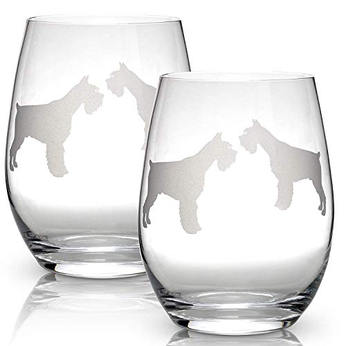 (Schnauzer Stemless Wine Glasses (Set of 2) | Unique Gift for Dog Lovers | Hand Etched with Breed Name on)