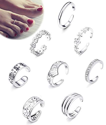 Silver Ring Silver Tone Toe (Jstyle 8Pcs Adjustable Toe Rings for Women Girls Various Types Band Open Toe Ring Set Women Gift Jewelry)