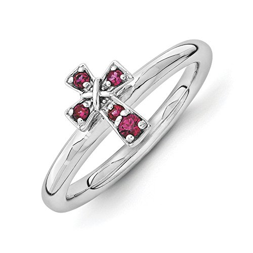 Rhodium Sterling Silver Stackable Created Ruby 9mm Cross Ring Sz 5 (Ring Birthstone Silver July)