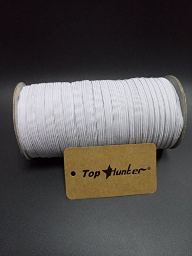 100-Yards Length 1//8 inch Width Braided Elastic Cord//Elastic Band//Elastic Rope//Bungee//Heavy Stretch Knit Elastic Spool White