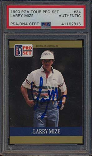 Set Card Golf Pro (#34 Larry Mize - 1990 Pro Set Golf Cards Graded AUTO - Autographed Golf Cards)