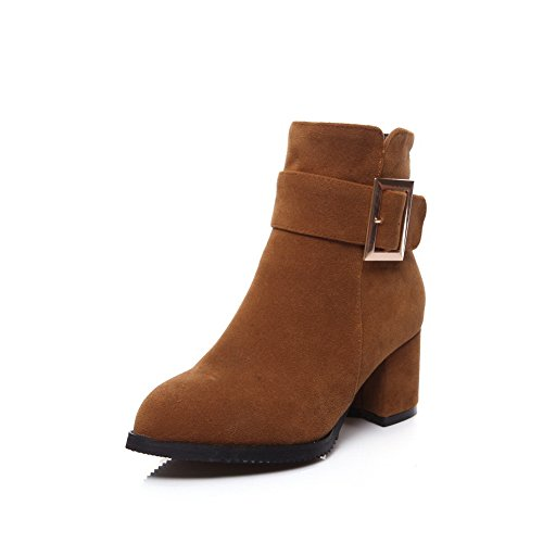 ANDku01824 - Sandali con Zeppa Donna, Marrone (Brown), 35