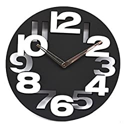 3D Big Digit Modern Contemporary Kitchen Office Home Decor Wall Clock Black