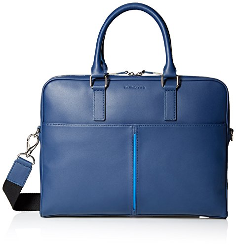 BUGATCHI Men's Nappa Leather Zip Briefcase by Bugatchi